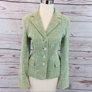 Michael- Michael Kors green woven blazer jacket